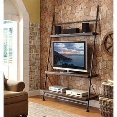 Riverside Camden Town Leaning TV Stand - Hampton Road Ash - 23740, Durable