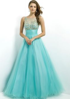Free shipping for 2014 Prom Dresses, Pink by Blush 5325 blue, gold beaded sleeveless ball gowns available now at RissyRoos.com.