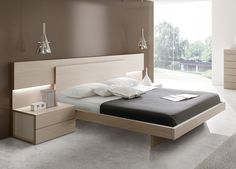 Bedroom ideas in light wood colour combination with a side table and headboard