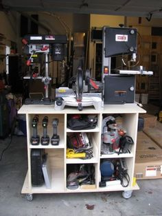Rolling tool organizer with enough room for hand tools, drill guns, chop saw, drill press, bandwaw, and various other woodworking and handyman tools. Shop Storage Solutions #8: Mobile Tool Cart (with photos) - by HokieMojo @ LumberJocks.com ~ woodworking community