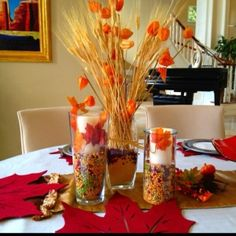 Homemade thanksgiving centerpieces! I made it through inspirations from pinterest! by may