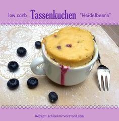 low carb Tassenkuchen Heidelbeere