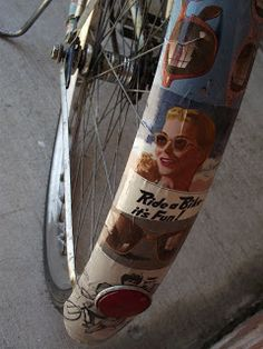 DIY bike frame decoupage. These instructions are for the whole bike -- but I could see just covering a fender or a part of the frame.