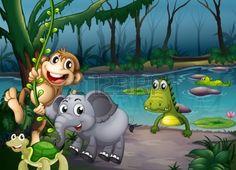 Illustrazione degli animali che giocano nella foresta vicino al laghetto con i coccodrilli Archivio Fotografico
