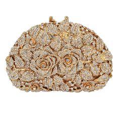 Fawziya Rhinestone Rose Clutch Purse For Party handbags for women-AB gold Bridal Clutch Bag, Clutch Purse, Bridesmaid Bags, Bridesmaids, Formal Clutches, Best Leather Wallet, Vintage Purses, Vintage Hats, Girly Girl
