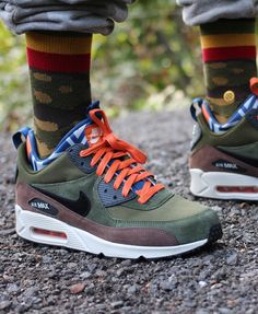 Air Max 90 Sneakerboot Green Orane laces