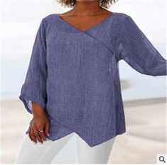 Modelos Plus Size, Themed Outfits, Online Shopping For Women, 3 4 Sleeve Shirt, Long Sleeve, Mode Style, Cotton Linen, Ideias Fashion, Tunic Tops