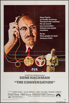 """The Conversation (Paramount, 1974). One Sheet (27"""" X 41""""). Thriller. Starring Gene Hackman, John Cazale, Allen Garfield, Cindy Williams, Frederic Forrest, Teri Garr, Harrison Ford, Michael Higgins, Elizabeth MacRae, Robert Duvall, and Gian Carlo Coppola. Directed by Francis Ford Coppola."""