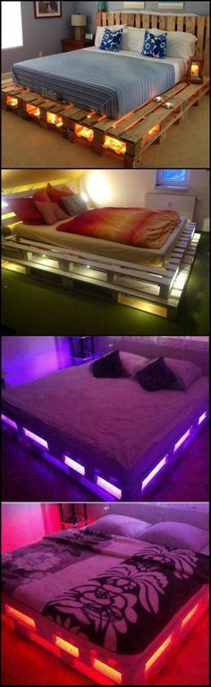 Illuminated Pallet Bed Talk about 'mood lighting'! This is one of the easiest DIY bed projects you can do! Some pallets, a mattress, a couple of lights and voila! Easy as Visit or main site for different versions of these illuminated pallet beds Pallet Beds, Pallet Furniture, Pallet Bed Frames, Pallet Bed Lights, Bed Pallets, Diy Bed Frame, Wooden Pallets, Furniture Projects, Diy Bett