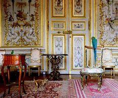 La Singerie de Chantilly.France. elaborately decorated walls