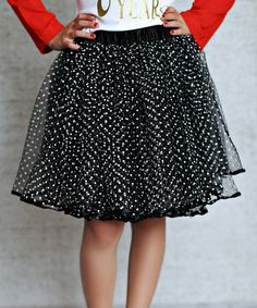 Another great find on #zulily! Black & White Polka Dot Tulle Skirt - Infant, Toddler & Girls #zulilyfinds