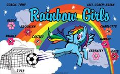 Rainbow Girls B55211  digitally printed vinyl soccer sports team banner. Made in the USA and shipped fast by BannersUSA.  You can easily create a similar banner using our Live Designer where you can manipulate ALL of the elements of ANY template.  You can change colors, add/change/remove text and graphics and resize the elements of your design, making it completely your own creation.