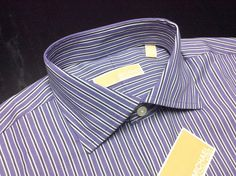 NEW MICHAEL KORS Mens 15.5 32/33 Lavender White Black Striped Long Sleeve Spread Collar Shirt #MichaelKors | Men's Fashion & Style | Menswear | Moda Masculina | Shop at designerclothingfans.com