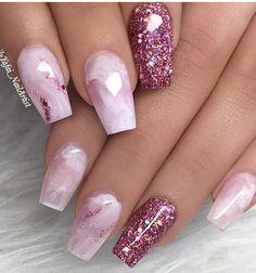 Nails, nail designs and nail art nail glitter design, glitter nail art, acr Pink Sparkle Nails, Fancy Nails, Bling Nails, Trendy Nails, Cute Nails, My Nails, Sparkle Acrylic Nails, Glittery Nails, Pointy Nails