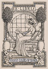Harry Elkins Widener (January 3, 1885 – April 15, 1912) Bookplate.  Perished on the Titanic.  Famous book collector and Harvard graduate, the Harry Elkins Widener Memorial Library was built in his memory at Harvard