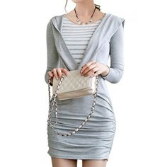 Casual Faux Twinset Long Sleeves Striped Splicing Hooded Dress For Women Striped Two Piece, Cute Casual Dresses, Look Thinner, Hooded Dress, Fashion Dresses, Women Wear, My Style, How To Wear, Outfits