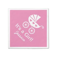 Pink personalized It's a girl baby shower napkins Standard Cocktail Napkin Baby Shower Napkins, Party Napkins, Cocktail Napkins, Ecru Color, Cocktails, Pink, Personalized Baby, Paper, Craft Cocktails