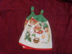 Apples and Herbs themed Crocheted Kitchen Tea Towel Set (matching pair) by FloridaCrocheters on Etsy