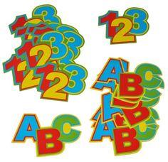 24 tlg. Set XL Streumotive - ABC / Buchstaben und Zahlen - Schuleinführung Tischdekoration Schulanfang - Streudeko Basteln Dekoration Schulbeginn Streumaterial Tischdeko Streuteile