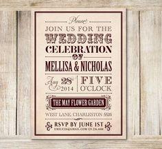 Chevron Wedding Reception Invitation, Vintage Wedding Reception Only ...