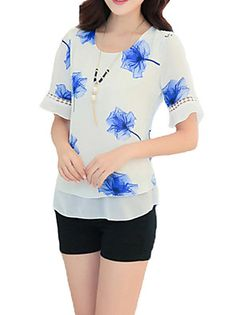 Women's Print Blue / Red / Green Blouse,Round Neck Short Sleeve – USD $ 12.99