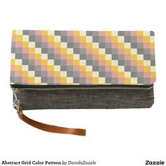 Abstract Grid Color Pattern Clutch Bag  Available on more products! Click the 'Available On' link on this product's page! Thanks for looking!  @zazzle #art #pattern #tote #bag #fashion #accessory #makeup #cosmetic #travel #pouch #zipper #women #fun #chic #red #yellow #black #grey #gray #square #grid #shop #buy #sale #shopping #modern #chic #style #carry