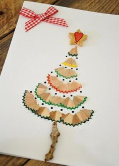 creative Christmas handicrafts to make your own Christmas cards - Basteln mit Kindern - Diy Christmas Decorations Easy, Diy Christmas Cards, Homemade Christmas, Christmas Art, Holiday Crafts, Christmas Ornaments, Childrens Christmas Card Ideas, Christmas Cards For Children, Simple Christmas