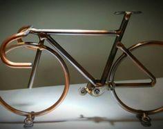 Items similar to Road bike handmade welded metal art bicycle sculpture on Etsy Water Clock, Bicycle Garage, Metal Bender, Welding Art Projects, Welding Rods, Welding And Fabrication, Steel Art, Fire Art, Structure Metal