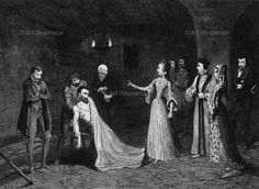 Princess Elizabeth confronted with Sir Thomas Wyatt in the torture chamber, 1554 (1840). Wyatt (c1521-1554) was involved in the failed attempt, organised by the Duke of Northumberland, to istall Lady Jane Grey on the English throne after the death of Edward VI.