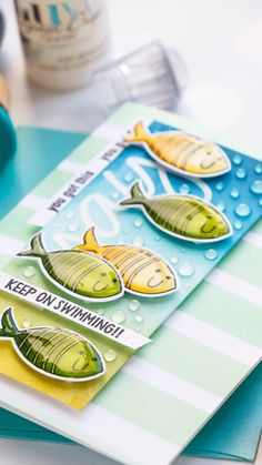 I've got a Keep On Swimming card to share today featuring even more ink blending (I'm on a roll) and some quick Copic coloring. Cute Cards, Pretty Cards, Nautical Cards, Pen Shop, Beach Cards, Animal Cards, Simon Says Stamp, Ink Pads, Card Kit