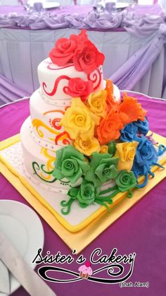 colorful rainbow wedding cake