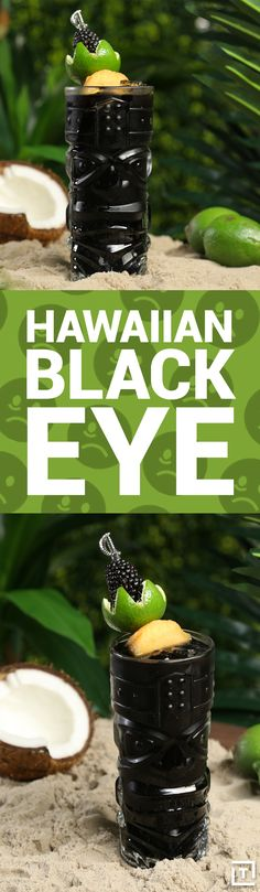 Hawaiian black eye is actually full of good things -- two types of rum, lime juice, cinnamon syrup, blackberries, and just a touch of black food coloring. Serve it up in a clear tiki glass and have fun reassuring your friends that you're not trying to poi Cocktails, Party Drinks, Cocktail Drinks, Fun Drinks, Yummy Drinks, Cocktail Recipes, Tiki Party, Cold Drinks, Drink Recipes