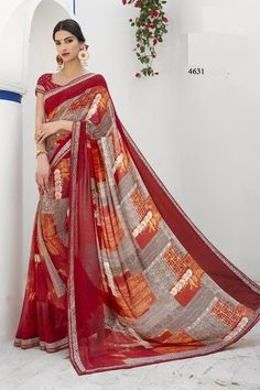 Price @2880.00 INR  Colour : Red & Grey Saree Fabric :  Georgette Blouse Fabric :  Fancy Blouse            Work :  Printed
