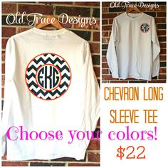 Long Sleeve Monogram Chevron T Shirt Personalized by OldTrace, $22.00