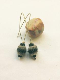 Striped felt earring on silver pin Felted Jewelry, Wire Wrapping, Stud Earrings, Silver, Etsy, Trapillo, Jewels, Stud Earring, Silver Hair