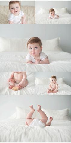 6 month session in studio, baby on a bed, natural light studio