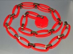 Cherry Red Bakelite Necklace Chain Link Belt Vintage 1950s Jewelry Mod Boho Stop Sign via Etsy