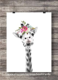 Elephant Leopard Zebra Giraffe Set of 4 art print Printable art Cute Flower crown animals watercolor animal decor quirky flower sepia photo Animals Watercolor, Watercolor Art, Giraffe Art, Elephant, Cute Giraffe Drawing, Giraffe Painting, Animal Drawings, Art Drawings, Art Mignon
