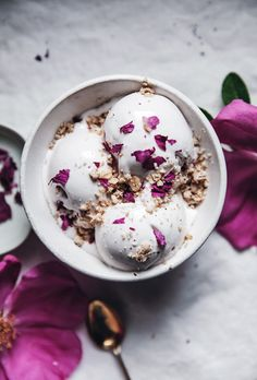 Vegan coconut + rose petal ice cream with cardamom crumble topping
