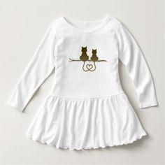 """Vestido infantil com babado """"Casal de gatinhos"""" Tshirt"""