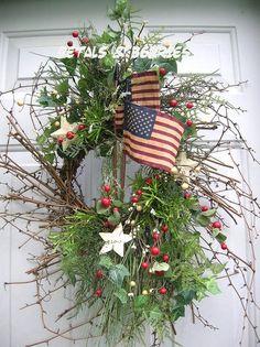 COUNTRY SUMMER AMERICANA,PATRIOTIC PRIMITIVE DOOR WREATH ... | Door...