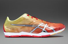 Asics Piranha SP 5 - Mens Running Shoes - Fiery Red-Silver-Flash Yellow
