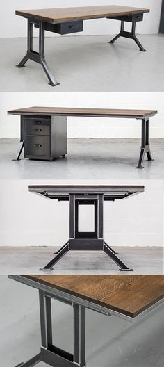 The Officers Desk - a classic and simple industrial design with solid steel leg frame and a solid timber top.