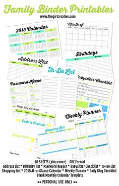 Free Household printables - Shopping List, To-Do List, Babysitter Checklist, At-a-Glance calendar, blank calendar template, weekly planner, daily blog checklist, password keeper, birthday list, address list, Family Binder Printables