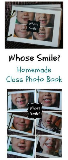 Whose Smile? Preschool Homemade Photo Book great idea!  Can be used with a feelings theme or a dental health theme. Preschool Body Theme, Emotions Preschool, Family Preschool Themes, Preschool Literacy, Preschool Name Crafts, Preschool Friendship Activities, Toddler Activities, Daycare Themes, Classroom Activities