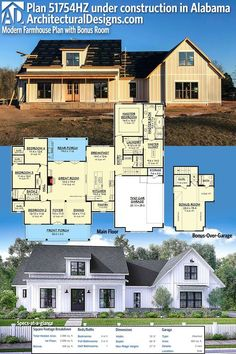 Architectural Designs Modern Farmhouse Plan 51754HZ under construction by our client in Alabama. The plan gives you over over 2,600 sq. ft. of heated living space and comes in two smaller sizes. Ready when you are. Where do YOU want to build? #51754HZ #adhouseplans #architecturaldesigns #houseplan #architecture #newhome #newconstruction #newhouse #homedesign #dreamhome #dreamhouse #homeplan #architecture #architect #housegoals #Modernfarmhouse #Farmhousestyle #farmhouse
