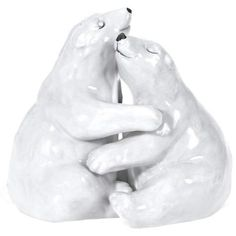 <p> Two adorable porcelain Hugging Polar Bears make up this cute wedding…
