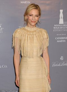 Cate Blanchett at the Rodeo Drive Walk of Style event honoring Catherine Martin. #RodeoDriveWOS