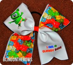 Cute GUMMY cheer Bear BOW by blingonthebowz on Etsy, $15.00
