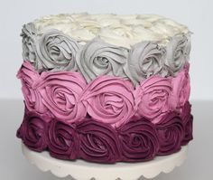 Ombre Rosette Cake 6x4 faux frosting